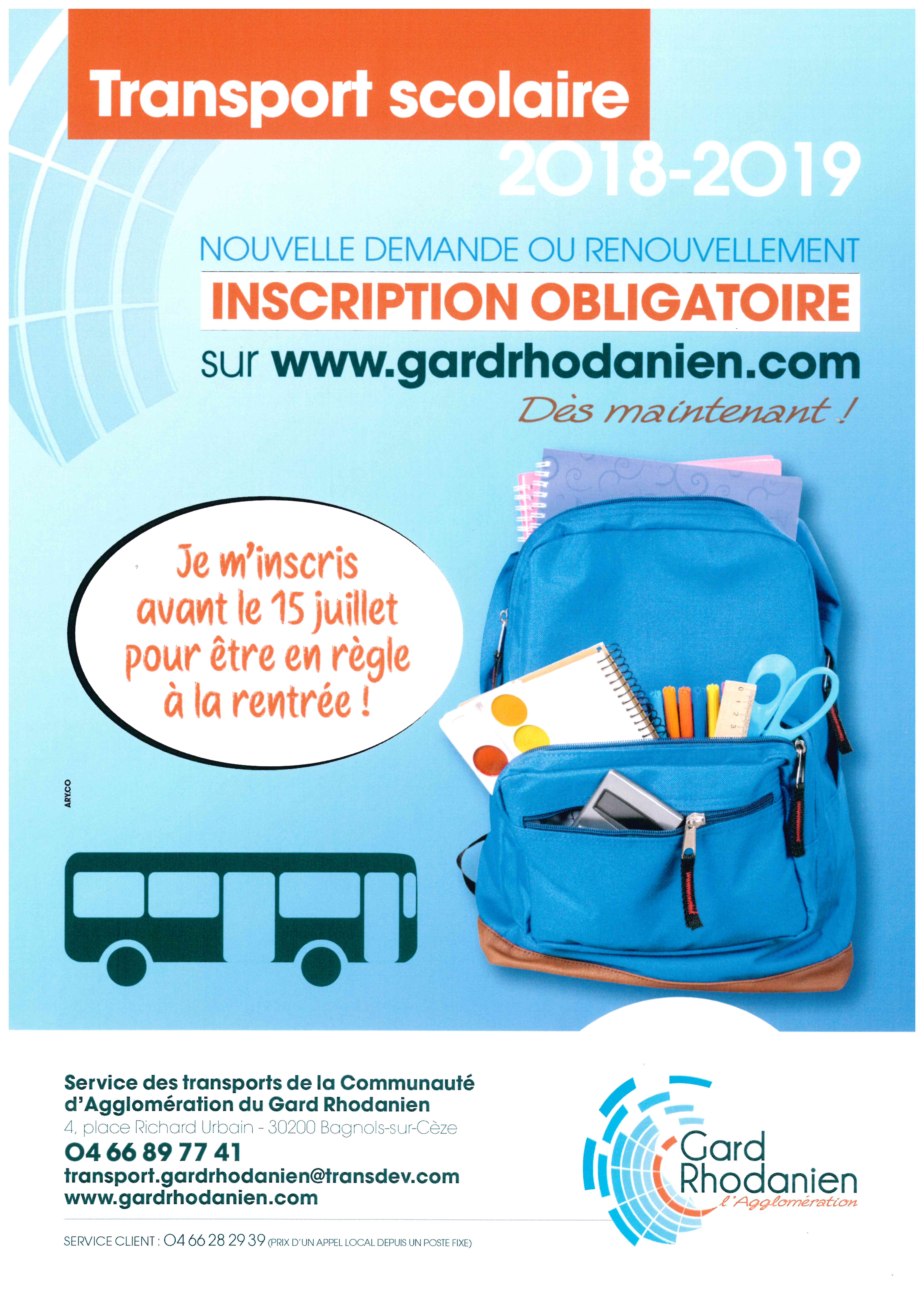 transport scolaire 2018 2019